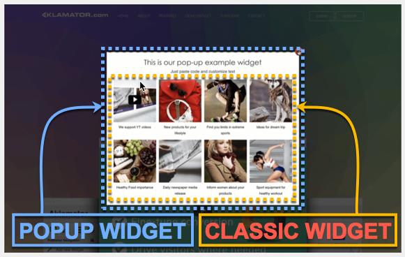Classic widget inside popup